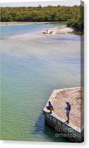 Fishing In Estero Bay Near Fort Myers Beach Florida Canvas Print by William Kuta