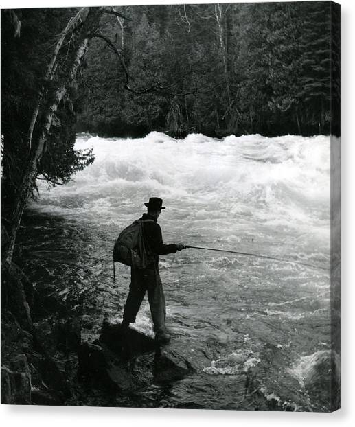 Fishing Poles Canvas Print - Fishing In Fast Moving Stream by Retro Images Archive
