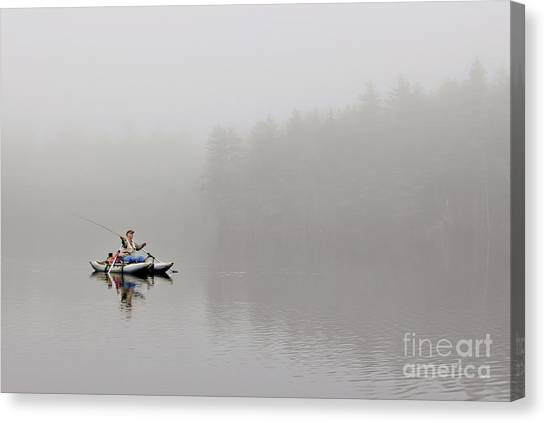 Fishing In The Fog Canvas Print by Karin Pinkham