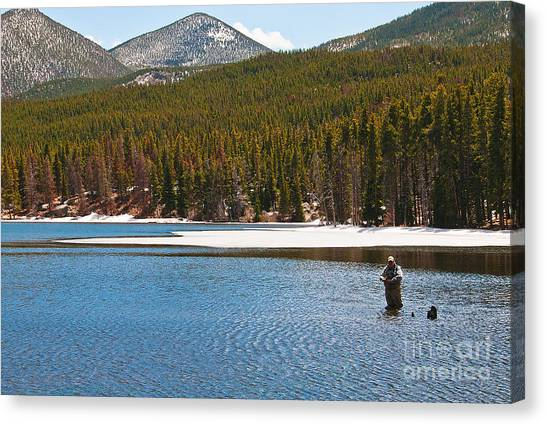 Canvas Print featuring the photograph Fishing In Winter by Mae Wertz