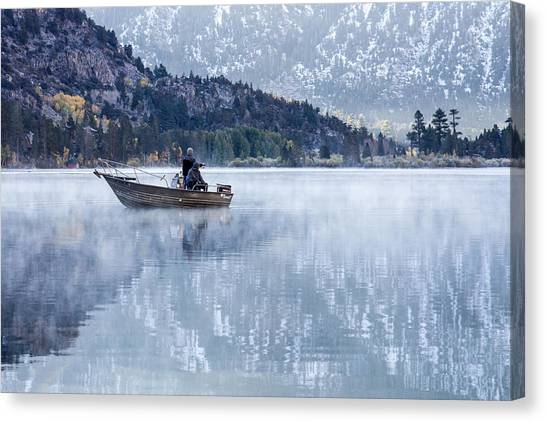 Canvas Print featuring the photograph Fishing Into Silver by Priya Ghose
