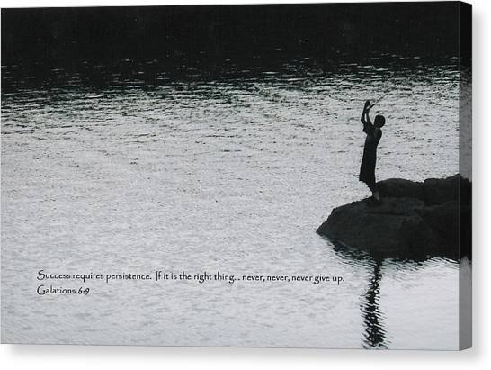 Fishing Late W/scripture Canvas Print