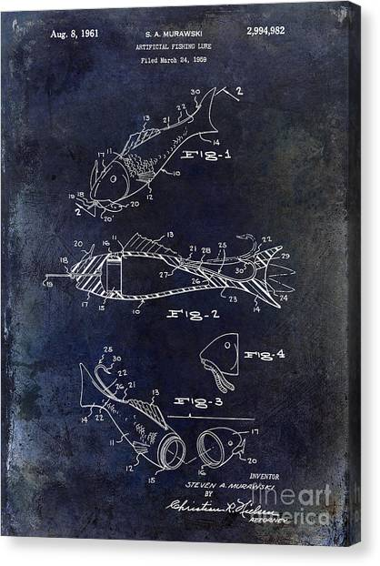 Fishing Poles Canvas Print - Fishing Lure Patent 1959 Blue by Jon Neidert