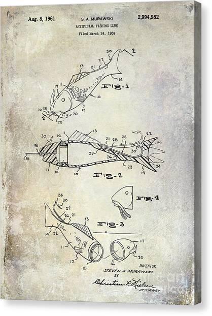 Fishing Poles Canvas Print - Fishing Lure Patent 1959 by Jon Neidert