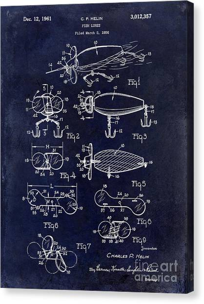 Fishing Poles Canvas Print - 1961 Fishing Lures Patent by Jon Neidert