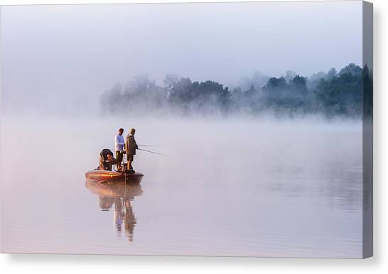Fishing Boats Canvas Print - Fishing On Foggy Lake by ??? / Austin