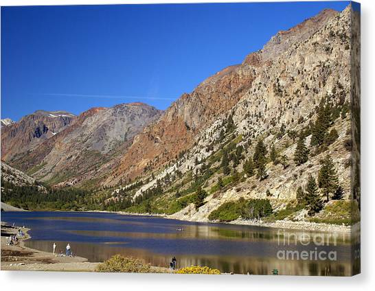 Fishing On Lundy Lake Canvas Print