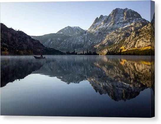 Canvas Print featuring the photograph Fishing On Silver Lake  by Priya Ghose