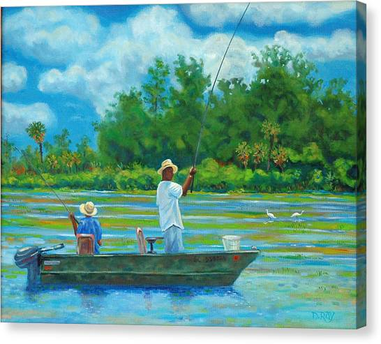 John Boats Canvas Print - Fishing On The Cooper by Dwain Ray