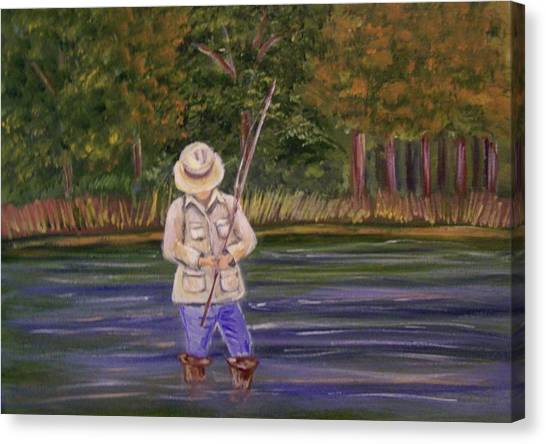 Fishing On The River Canvas Print