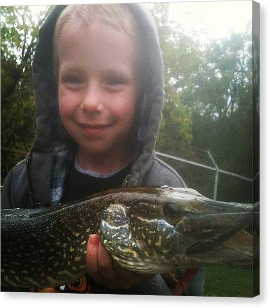 Keeper Canvas Print - #fishing #pike #northern #morthernpike by Theresa Kidd