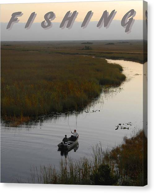 John Boats Canvas Print - Fishing Poster One by David Lee Thompson