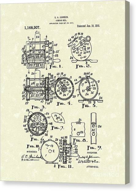 1916 Canvas Print - Fishing Reel 1916 Patent Art by Prior Art Design