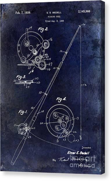 Fishing Poles Canvas Print - Fishing Reel Patent 1939 Blue by Jon Neidert