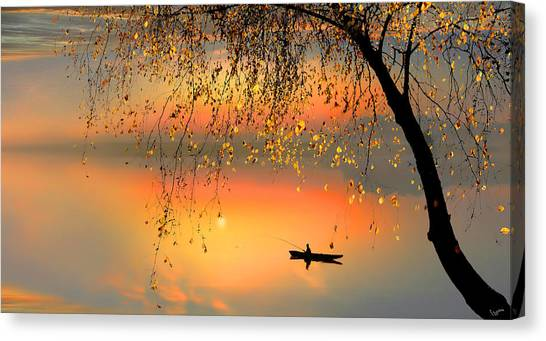 Fishing Sunset Canvas Print by Igor Zenin