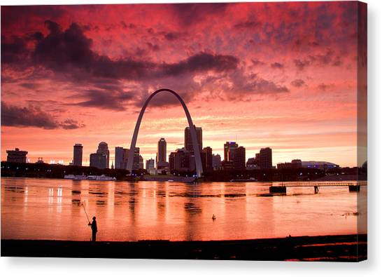 Fishing The Mississippi In St Louis Canvas Print