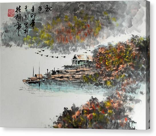 Fishing Village In Autumn Canvas Print