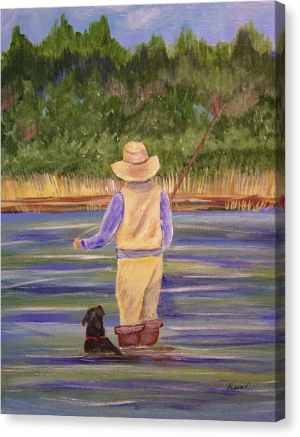 Fishing With Dog Canvas Print