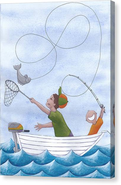 Dad Canvas Print - Fishing With Grandpa by Christy Beckwith