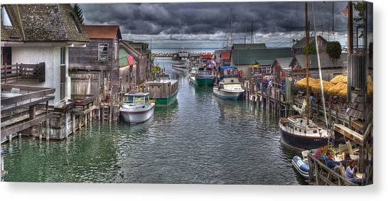 Lake Michigan Canvas Print - Fishtown Panorama by Twenty Two North Photography