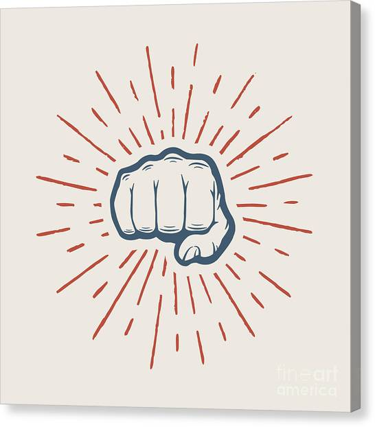 Fist With Sunbursts In Vintage Style Canvas Print by Akimd