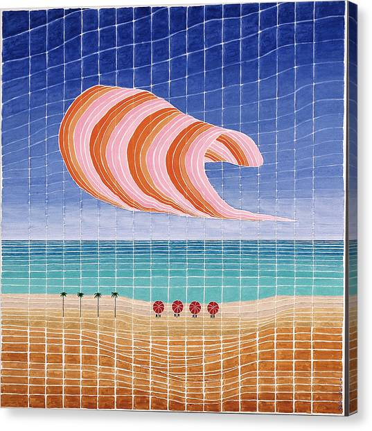 Five Beach Umbrellas Canvas Print