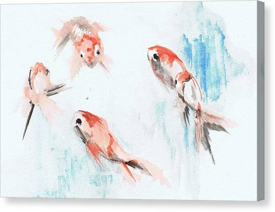 Canvas Print featuring the painting Five Goldfish by Lauren Heller