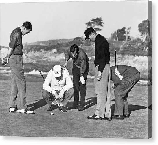 Golf Course Canvas Print - Five Golfers Looking At A Ball by Underwood Archives