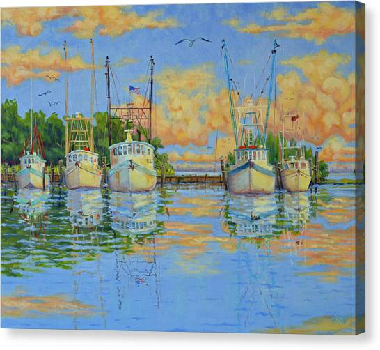 Five Low Country Boats Canvas Print