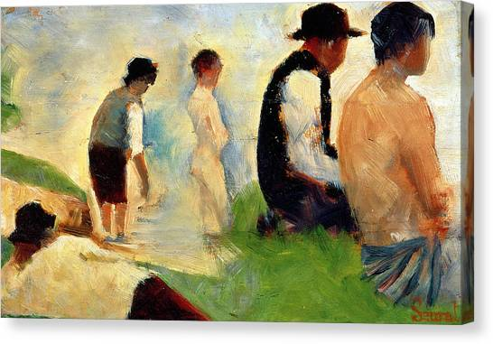 Post-impressionism Canvas Print - Five Male Figures Possible Preparatory Sketch For The ''bathers At Asnieres.'' by Georges Pierre Seurat