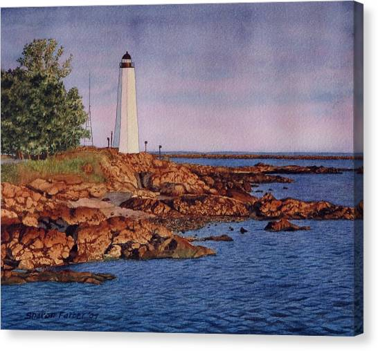 Five Mile Point Lighthouse Canvas Print by Sharon Farber