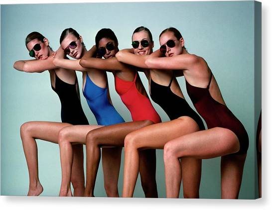 Five Models Wearing Bathing Suits Canvas Print