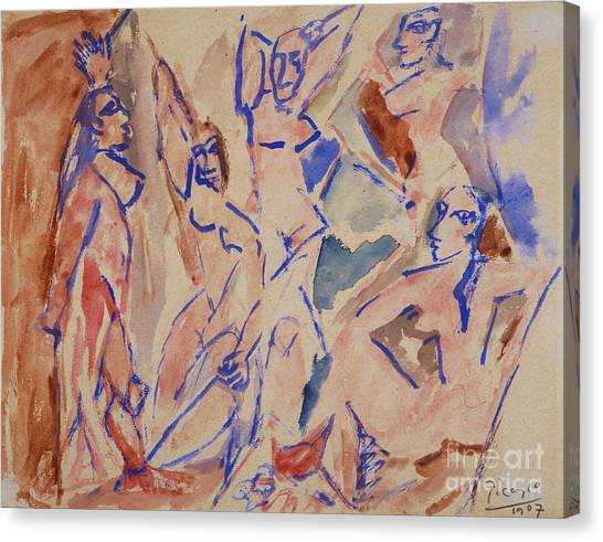 Demoiselles Canvas Print - Five Nudes Study by Pg Reproductions