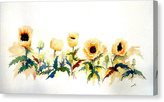 Five Poppies Canvas Print by William Renzulli