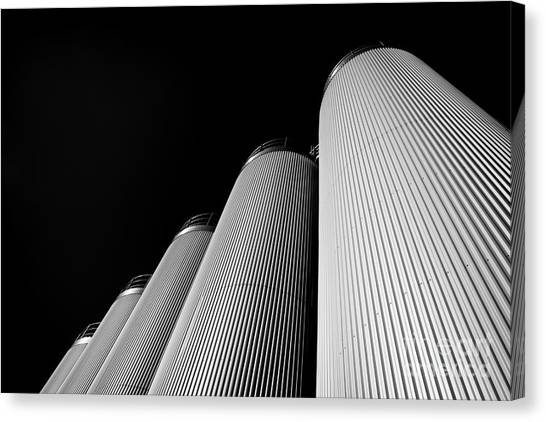 Five Silos In Black And White Canvas Print