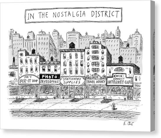 Five Stores On A Street Make-up The Nostalgia Canvas Print