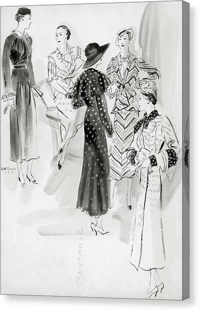 Five Women Wearing Chanel Canvas Print by Rene Bouet-Willaumez