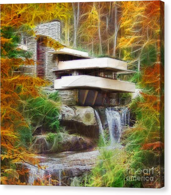 Fixer Upper - Square Version - Frank Lloyd Wright's Fallingwater Canvas Print