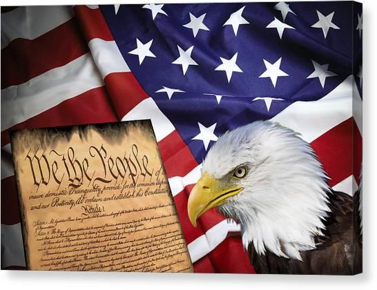 Libertarian Canvas Print - Flag Constitution Eagle by Daniel Hagerman