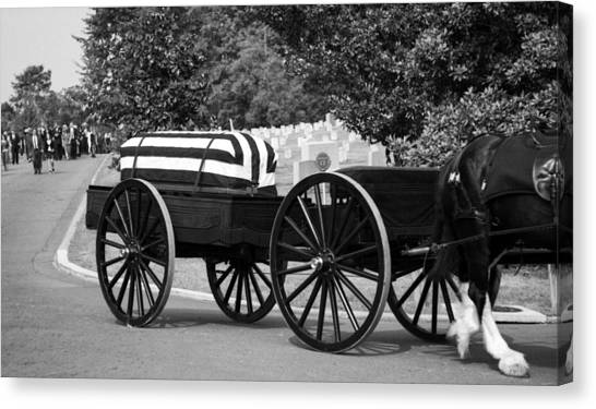 Flag Draped Casket At Arlington Canvas Print