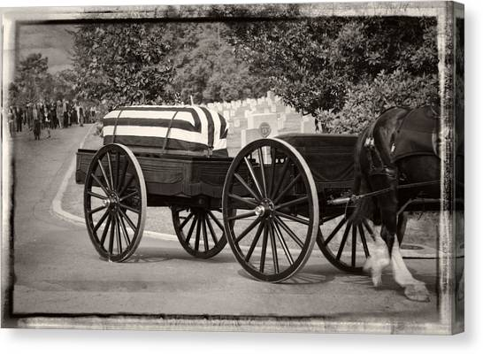Flag Draped Casket At Arlington With Border Canvas Print