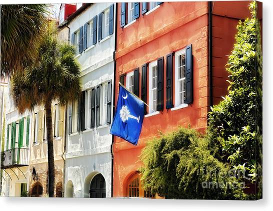 Flag Of Charleston With Palmetto And Crescent Moon Canvas Print by George Oze