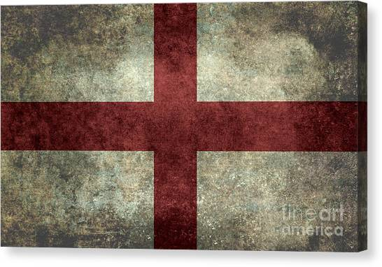Flag Of England St Georges Cross Vintage Version To Scale Canvas Print