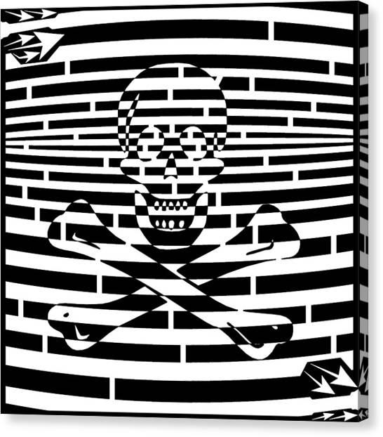 Flag Of Jolly Roger Maze Canvas Print by Yonatan Frimer Maze Artist