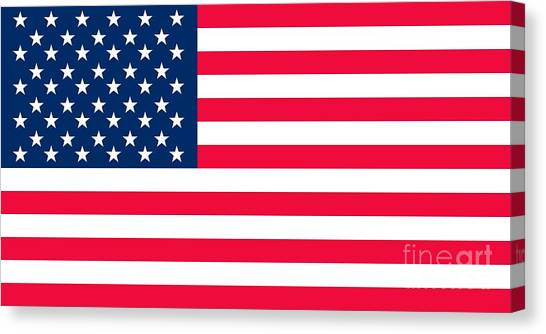 America Canvas Print - Flag Of The United States Of America by Anonymous