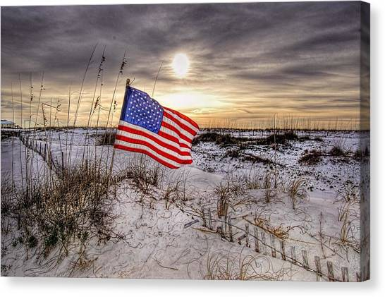 Flag On The Beach Canvas Print