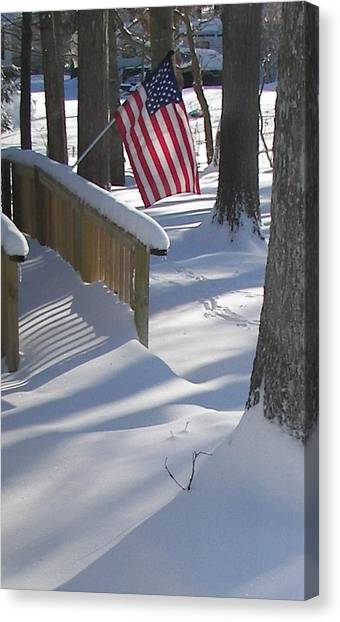 Flag Over Morning Snow Canvas Print