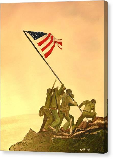 Flag Raising At Iwo Jima Canvas Print