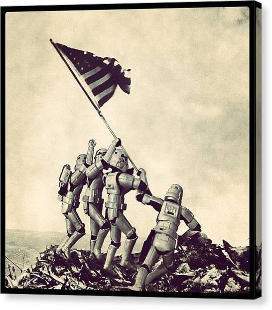 Soldiers Canvas Print - Flag Raising On Iwo Jima - Star Wars by Tony Leone