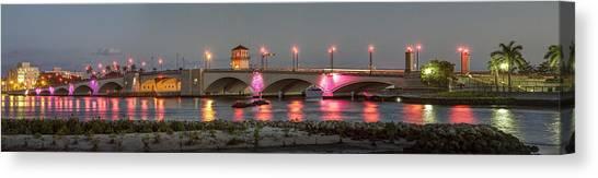 Flagler Beach Canvas Print - Flagler Bridge In Pink by Debra and Dave Vanderlaan